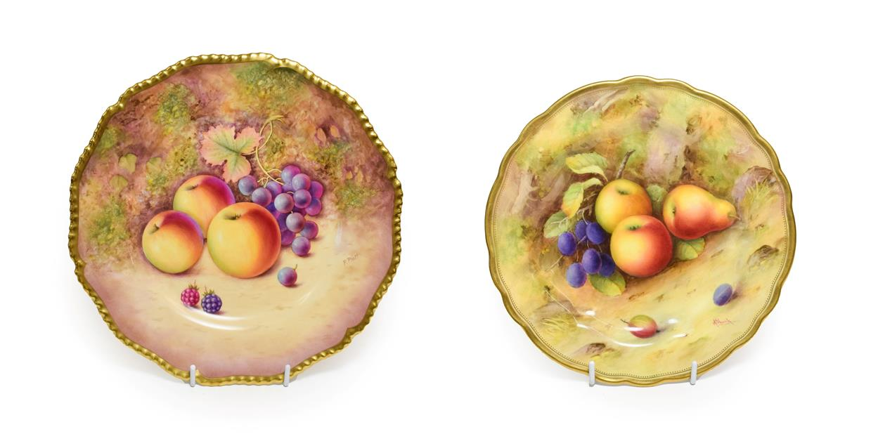 Lot 6 - A Royal Worcester Porcelain Plate, by Albert Shuck, 1925, painted with a still life of fruit on...