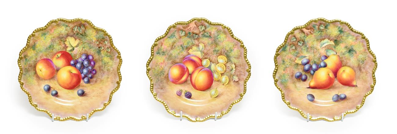 Lot 7 - A Set of Three Royal Worcester Porcelain Plates, by Harry Ayrton, 2nd half 20th century,...