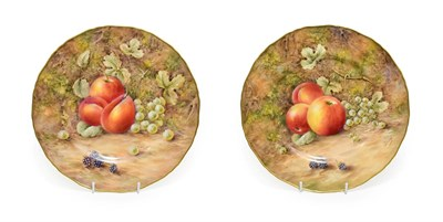 Lot 14 - A Pair of Royal Worcester Porcelain Large Plates, by Peter Love, 2nd half 20th century, painted...