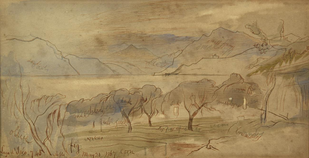 Lot 1005 - Edward Lear (1812-1888) ''Lago d'Iseo'' Signed and dated May 21, 1867, and extensively...