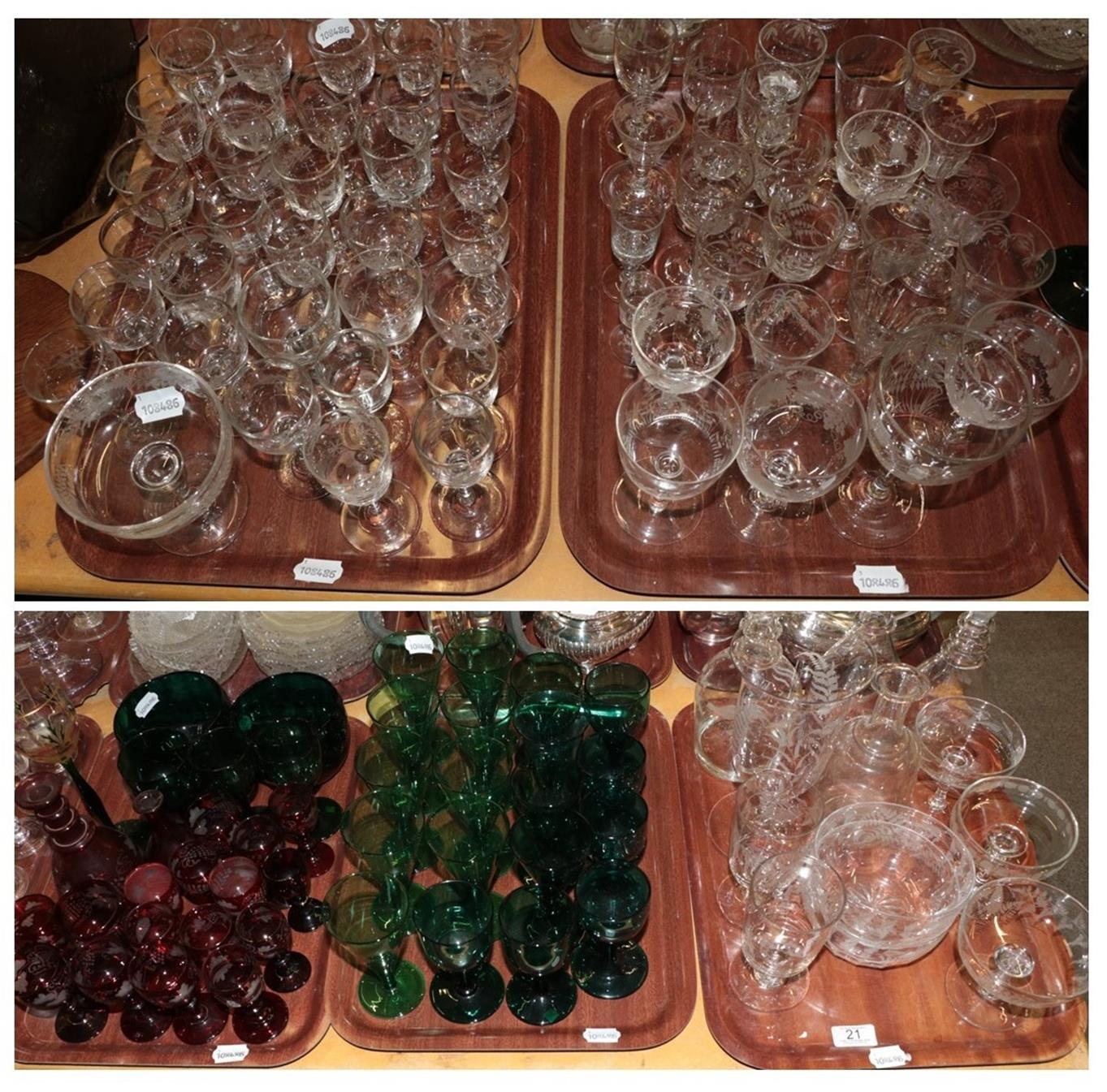 Lot 21 - Coloured Victorian glasses and a quantity of engraved glass (on five trays)