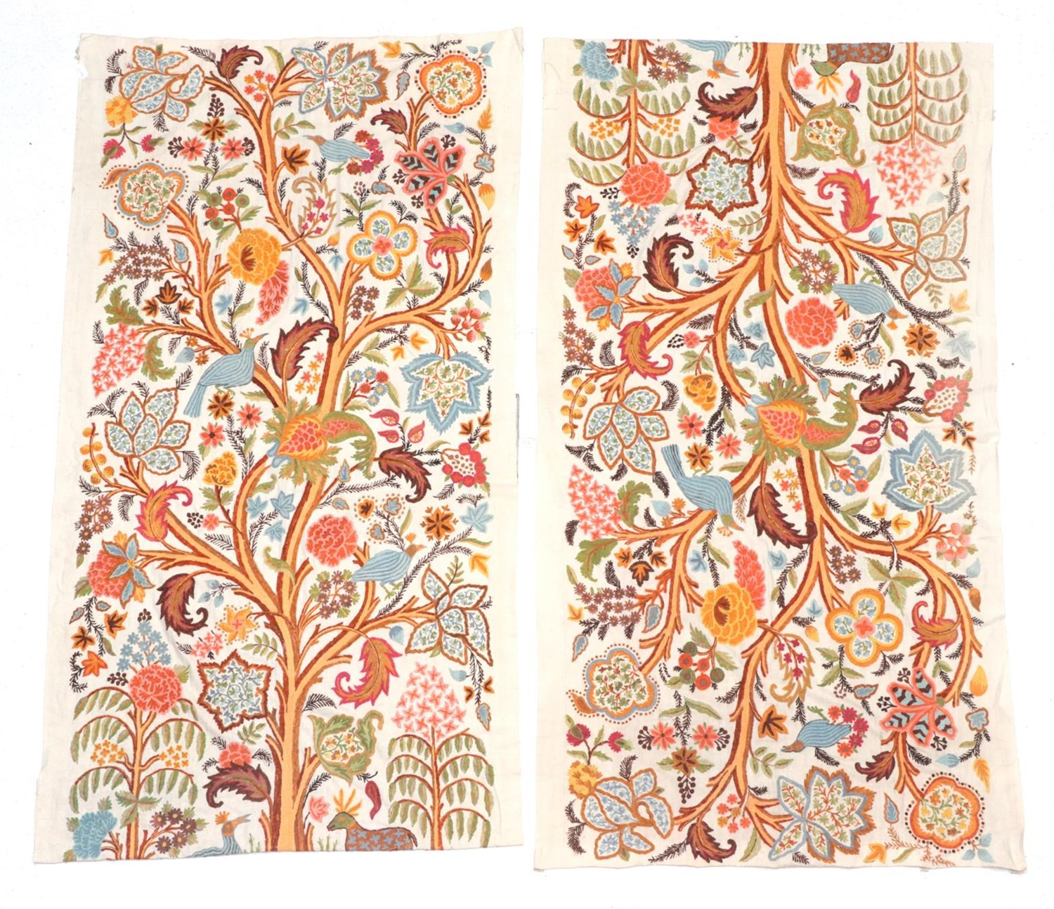Lot 6017 - Pair of Crewelwork Panels/Curtains, depicting a central tree hung with large decorative leaves...