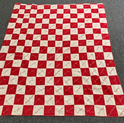 Lot 6020 - Early 20th Century Red and White Signature Quilt, embroidered with surnames on each alternating red