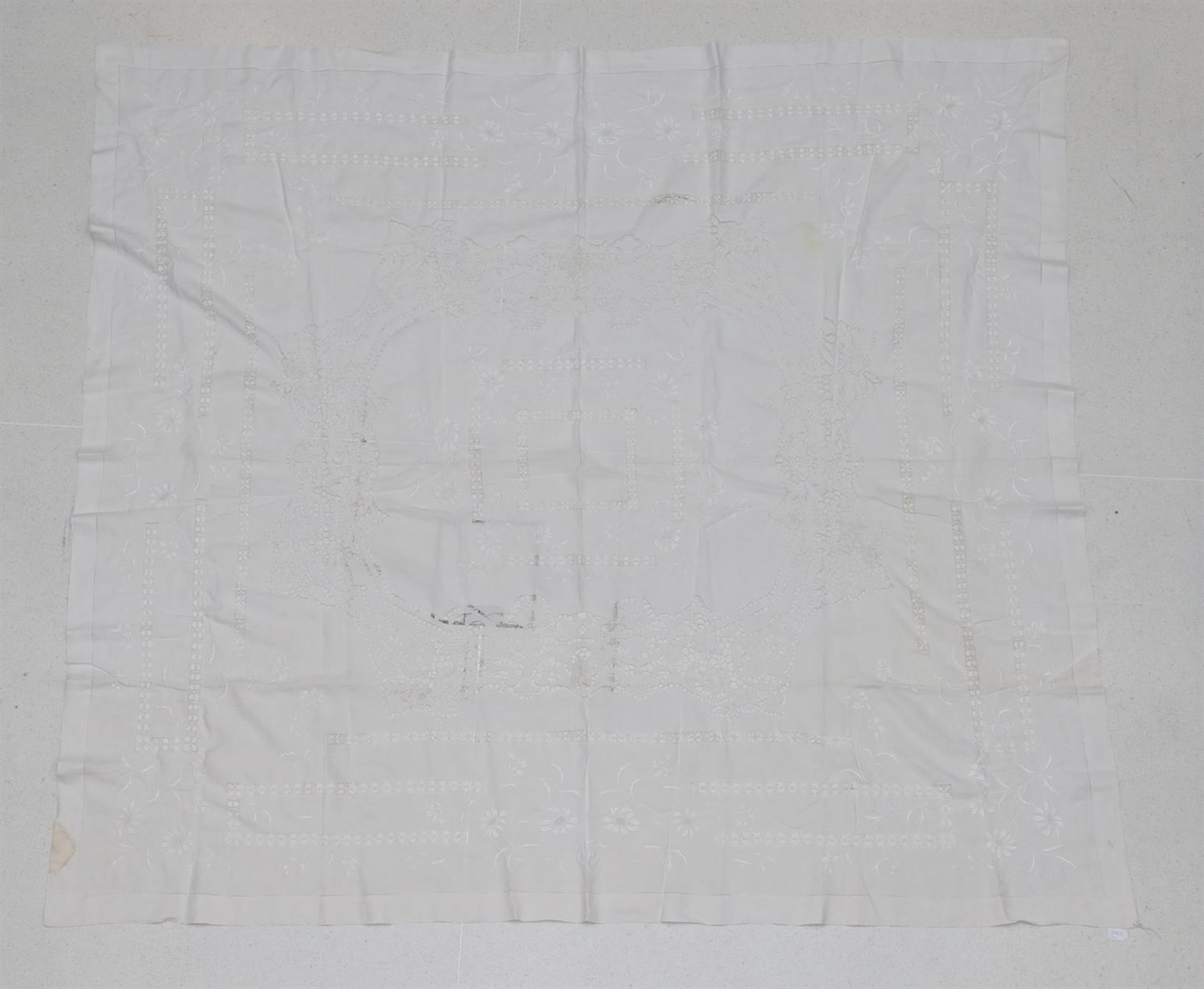 Lot 6027 - Large Early 20th Century White Linen Table Cloth, with drawn thread work, lace inserts and...