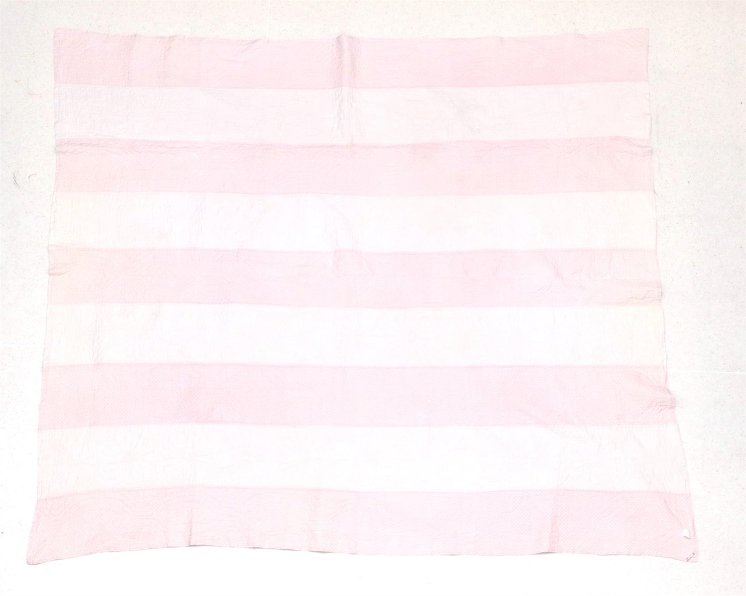 Lot 6029 - Late 19th Century Strippy Quilt, with stripes of pale pink design, alternating with daisy head...