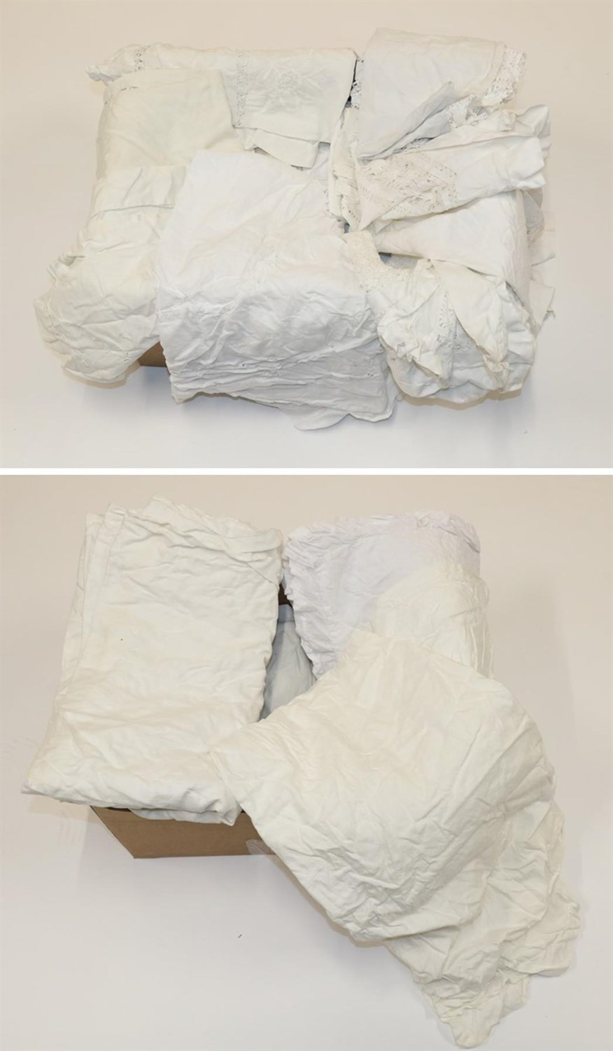 Lot 6032 - Quantity of Assorted White Linen and Cotton, comprising bed linen, table linen with embroidered and
