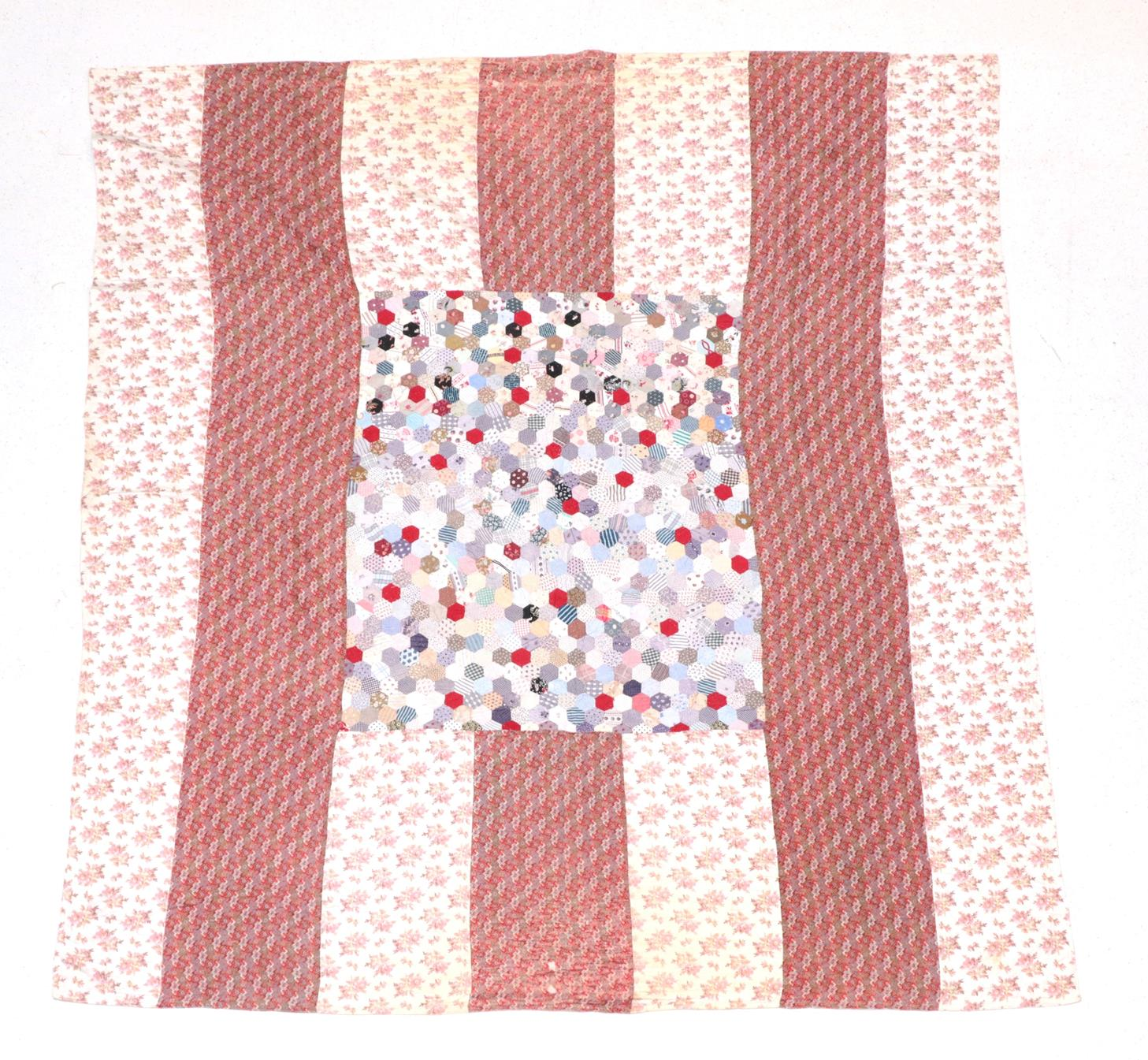 Lot 6044 - Late 19th Century Patchwork Quilt, comprising a central square of hexagonal coloured cotton...