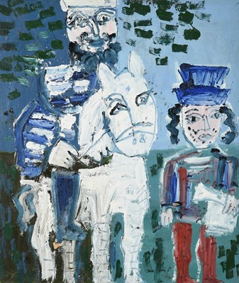 Lot 1073 - Joash Woodrow (1927-2006) ''Two Men and a Horse'' Oil on board, 78cm by 66cm  Provenance: 108...
