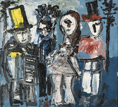 Lot 1072 - Joash Woodrow (1927-2006) ''Four Figures in Historical Costume'' Oil on board, 68cm by 76cm...