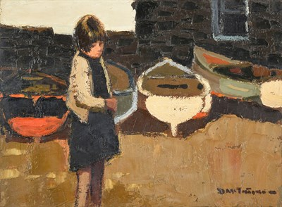 Lot 1051 - Donald McIntyre RCA (1923-2009) Scottish Girl before fishing boats Signed, oil on board, 29.5cm...