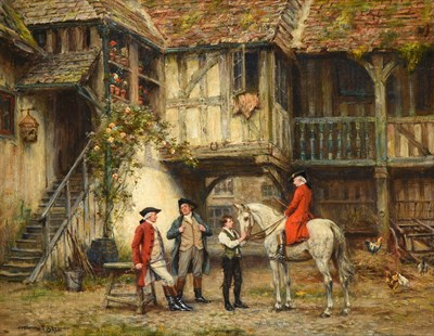 Lot 1034 - Frank Moss Bennett (1874-1952)  Return from the hunt Signed and dated 1937, oil on canvas,...