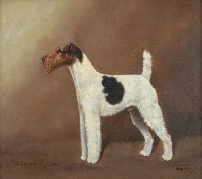 Lot 1048 - William Lucas Lucas (20th century) ''Ch Cornwell Cyclone'' - Wire Haired Fox Terrier Signed,...