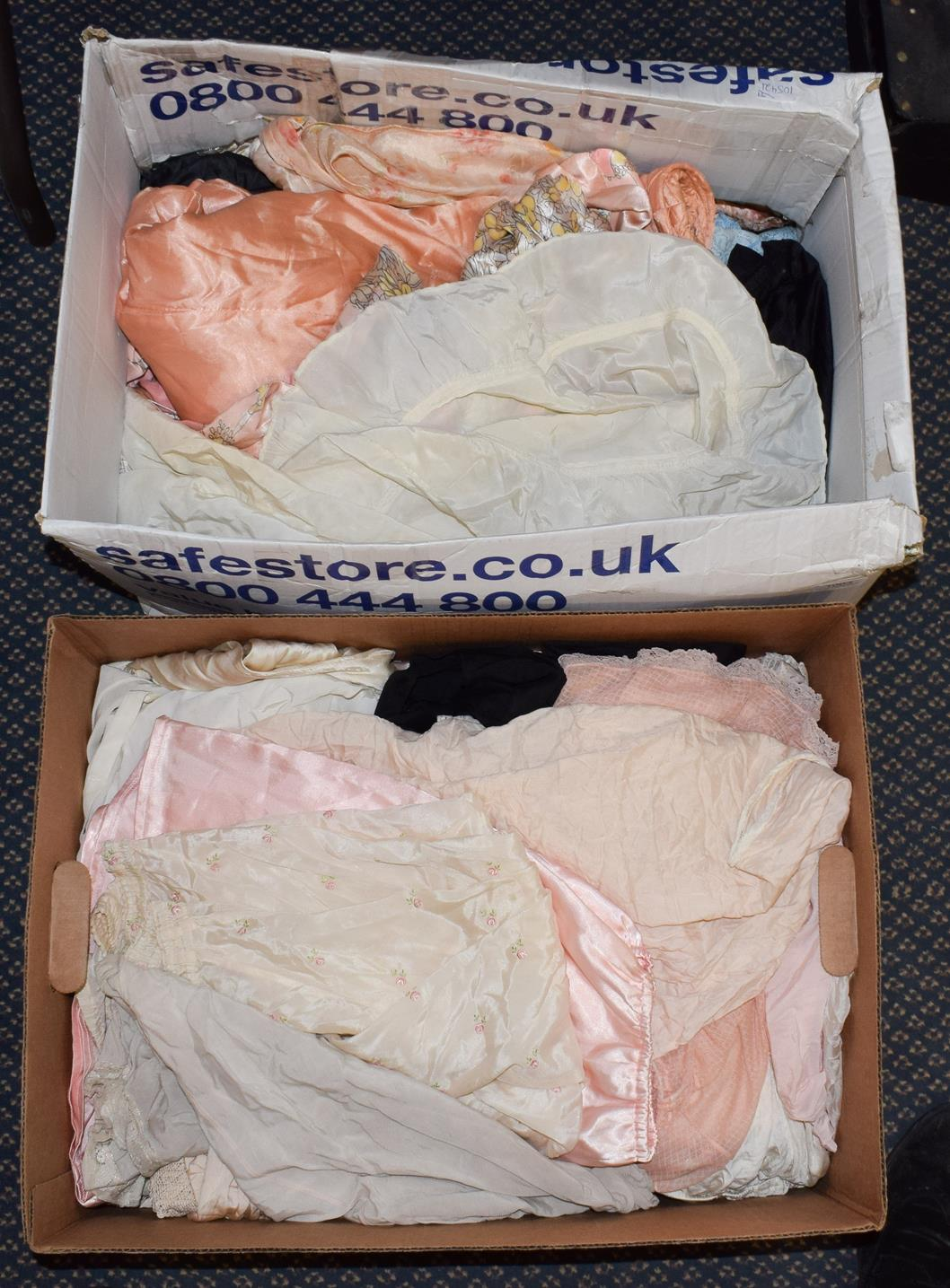 Lot 1003 - Circa 1930s and later lingerie, including Betty white cotton and net bras, Kestos Ltd pink...
