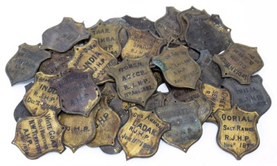 Lot 2075 - Natural History: A Quantity of Copper Taxidermy Identification Shields, circa 1870, forty four...