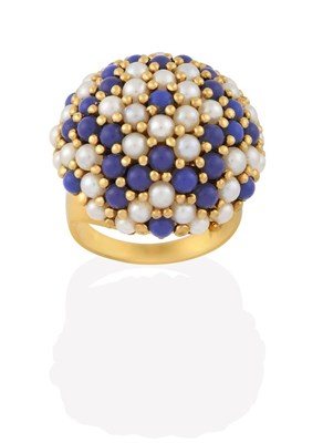 Lot 2004 - A Cultured Pearl and Blue Bead Ring, the bombé bezel formed of cultured pearls and blue beads in a