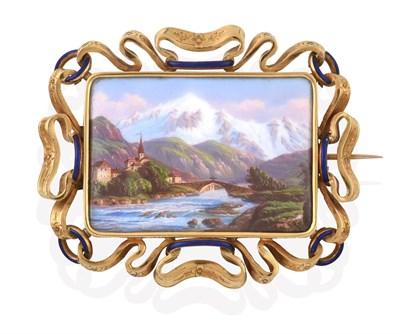 Lot 2007 - A Victorian Swiss Enamel Brooch, mid 19th century, the rectangular enamel plaque depicting a...