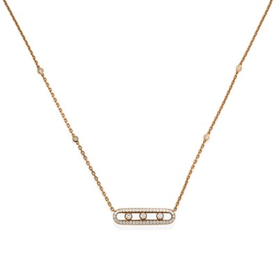 Lot 2011 - A Diamond 'Move Classique' Necklace, by Messika, Paris, the central oval plaque set throughout with