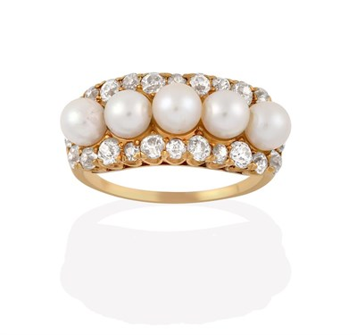 Lot 2013 - A Cultured Pearl and Diamond Cluster Ring, the five cultured pearls within a border of old cut...