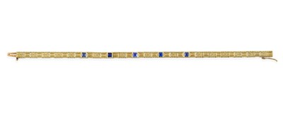 Lot 2015 - An Early 20th Century Sapphire Bracelet, the articulated yellow plaque links bright-cut...