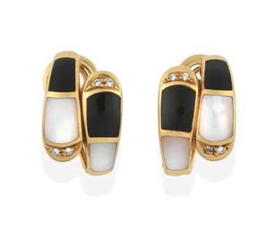 Lot 2016 - A Pair of Enamel, Mother-of-Pearl and Diamond Earrings, formed of two graduated bands composed...