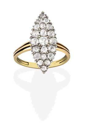 Lot 2021 - A Diamond Ring, the navette form set throughout with old cut diamonds in white claw settings,...