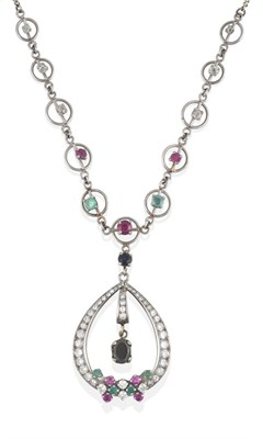 Lot 2034 - A Ruby, Sapphire, Emerald and Diamond Necklace, an eight-cut diamond set loop with an oval cut...