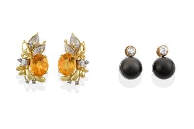 Lot 2036 - A Pair of Diamond and Banded Agate Drop Earrings, an old cut diamond in a yellow millegrain setting