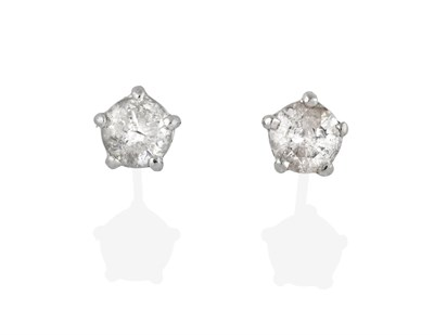 Lot 2045 - A Pair of Diamond Solitaire Earrings, the round brilliant cut diamonds in white claw settings,...
