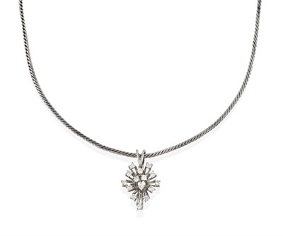 Lot 2046 - A Diamond Pendant on Chain, the abstract pendant set throughout with round brilliant cut...