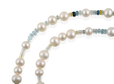Lot 2055 - A Beryl and Cultured Pearl Necklace, faceted multi-coloured beryl roundel beads spaced by...