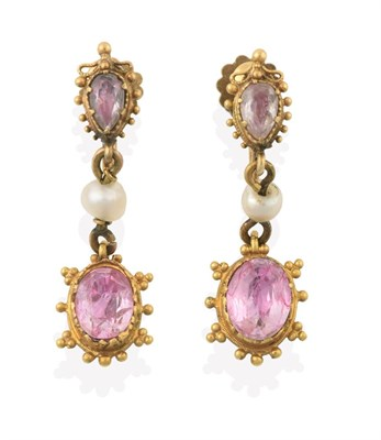 Lot 2057 - A Pair of Early 19th Century Pink Tourmaline and Seed Pearl Drop Earrings, the oval cut pink...