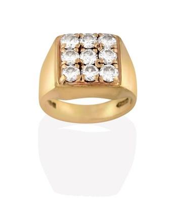 Lot 2058 - A 9 Carat Gold Diamond Cluster Ring, nine round brilliant cut diamonds in a square arrangement,...