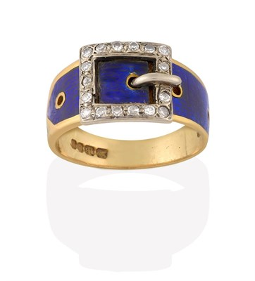 Lot 2063 - An 18 Carat Gold Edwardian Enamel and Diamond Belt and Buckle Ring, decorated in blue guilloche...