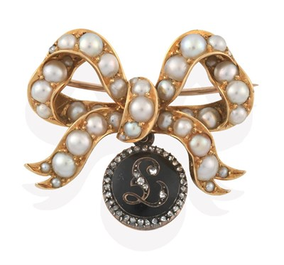 Lot 2066 - An Edwardian Split Pearl Brooch with Diamond Mourning Pendant, the bow motif set throughout...