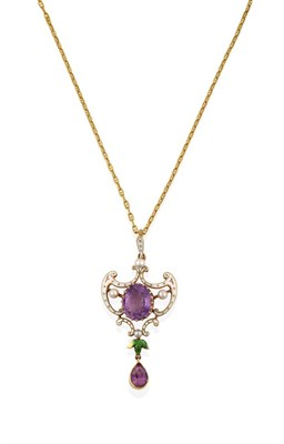 Lot 2067 - An Edwardian Suffragette Amethyst, Pearl and Enamel Pendant on Chain, of openwork scroll design, an