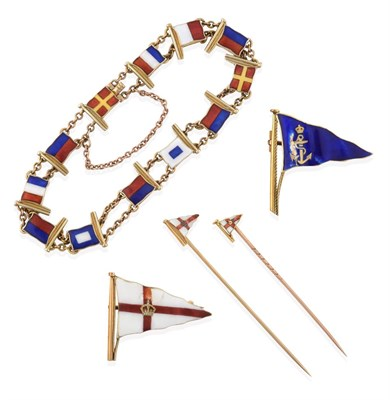 Lot 2068 - A 9 Carat Gold Enamel Maritime Signal Flag Bracelet, by Benzie, the double chain linking...