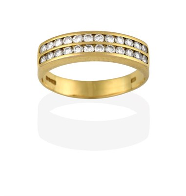 Lot 2078 - An 18 Carat Gold Diamond Half Hoop Ring, the two rows of round brilliant cut diamonds in yellow...