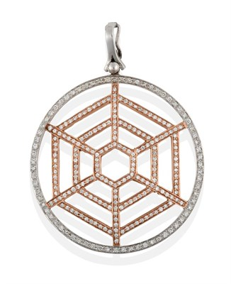 Lot 2091 - A Diamond Pendant, the openwork spider web motif formed of a central rose section to a white...