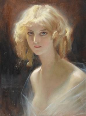 Lot 1083 - Tadeusz Styka (1889-1954) Polish   Portrait of a haunting beauty  Signed and indistinctly...