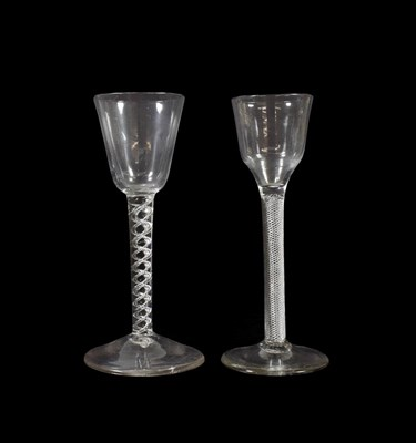 Lot 6 - A Wine Glass, circa 1750, the rounded funnel bowl on an air twist stem and circular foot, 16cm...