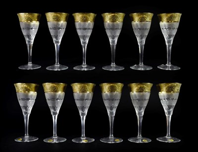 Lot 17 - A Set of Twelve Moser Wine Glasses, late 20th century, with etched gilt rims over bands of...