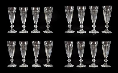 Lot 18 - A Set of Eighteen Baccarat Champagne Glasses, modern, Harcourt pattern, with panelled conical...