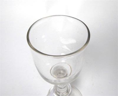 Lot 31 - A Wine Glass, circa 1750, the ovoid bowl with basal blade knop on a plain stem with annular...
