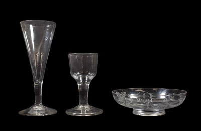 Lot 35 - A Cordial Glass, circa 1770, the ogee bowl on a plain stem and circular foot, 10cm high; An Ale...