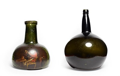 Lot 37 - A Green Glass Carafe, 18th century, of onion form with broad tapering neck, painted with a...