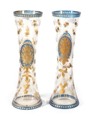 Lot 42 - A Pair of Bohemian Blue Overlay Glass Vases, mid 19th century, of waisted cylindrical form,...