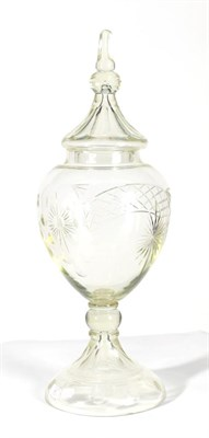 Lot 43 - An Apothecary's Glass Display Jar and Cover, late 19th/early 20th century, of ovoid form, cut...
