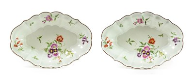 Lot 47 - A Pair of Worcester Porcelain Fluted Oval Dessert Dishes, circa 1770, painted in green and gilt...