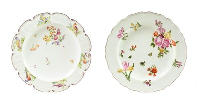 Lot 48 - A Chelsea Porcelain Dessert Plate, circa 1755, painted with flowersprays and scattered sprigs...