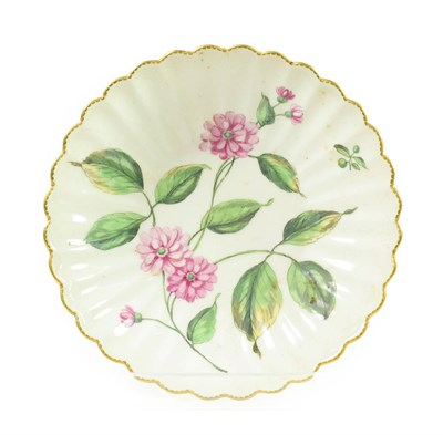 Lot 49 - A Chelsea Porcelain Botanical Fluted Saucer, circa 1755, painted with a sprays of pinks within...